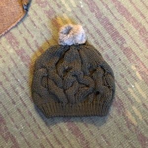 Accessories - NWOT Chunky Knit Olive Green Beanie with Pom